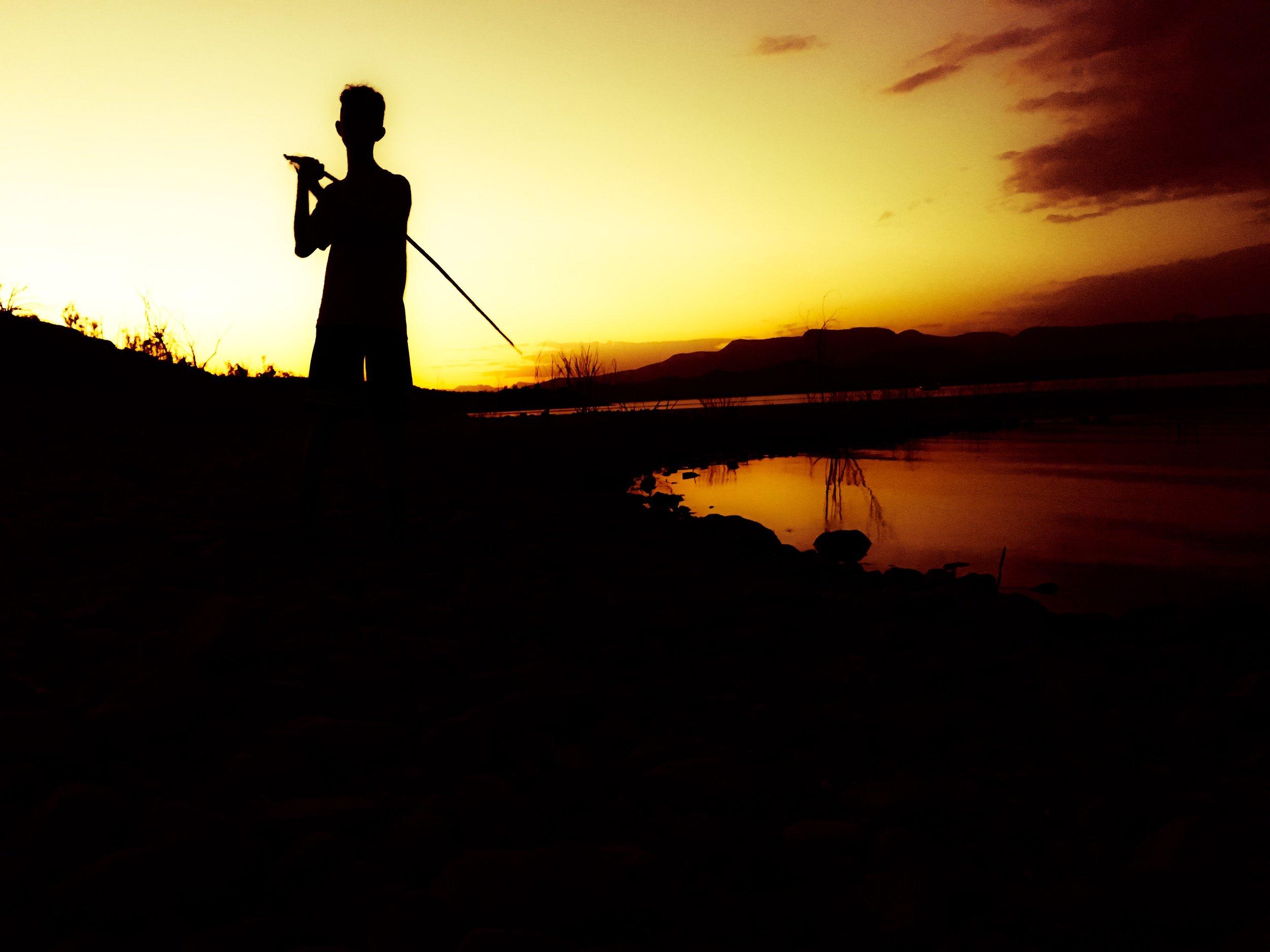 Lucas' Silhouette at lake Rroosevelt