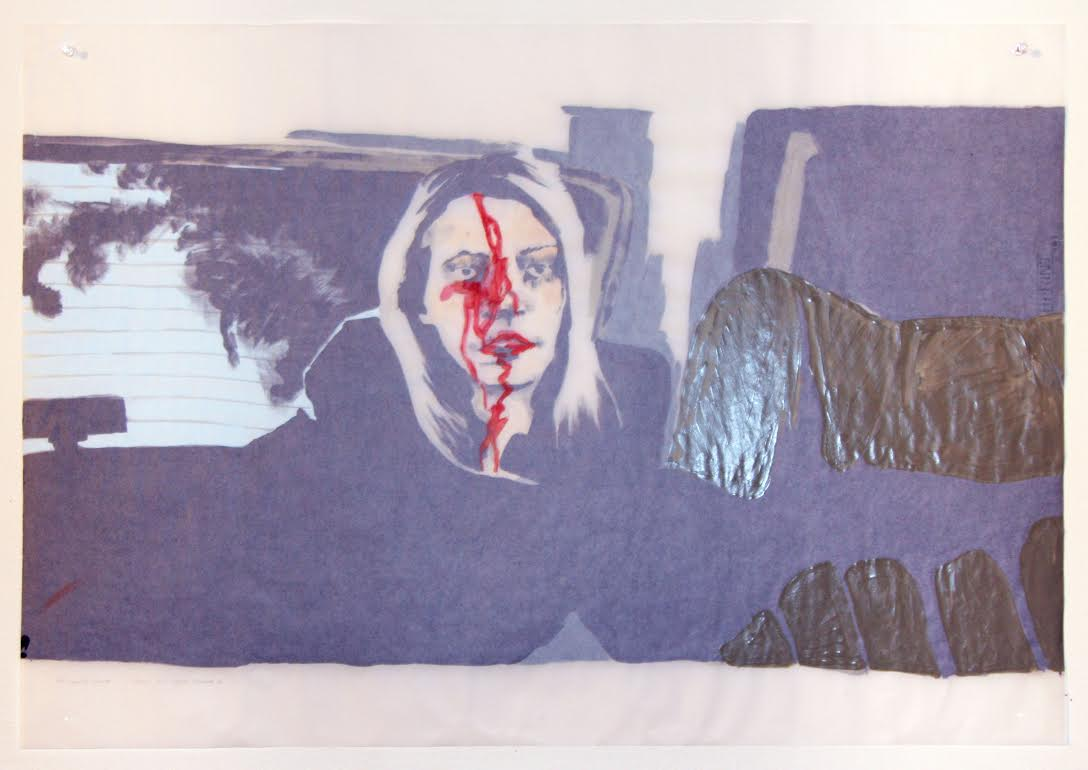 The Blackcoat's Daugther (verso), acrylique sur papier suédois, 62 x 88,5 cm, 2017.