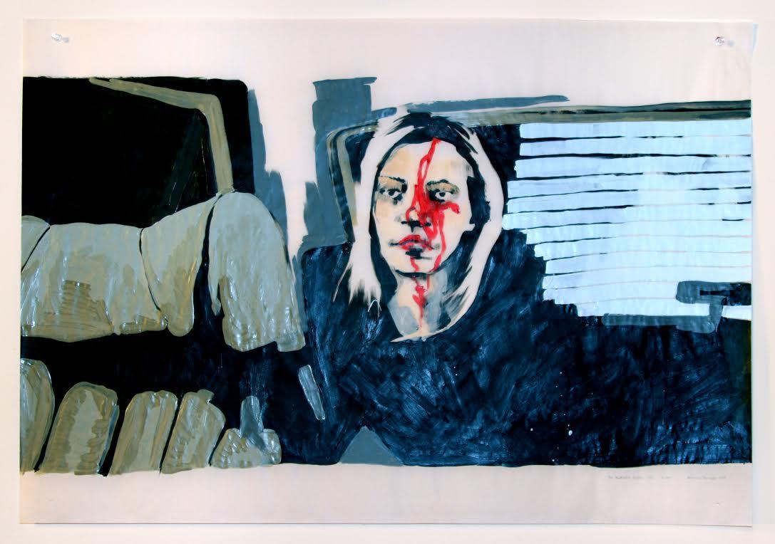 The Blackcoat's Daugther (recto), acrylique sur papier suédois, 62 x 88,5 cm, 2017.