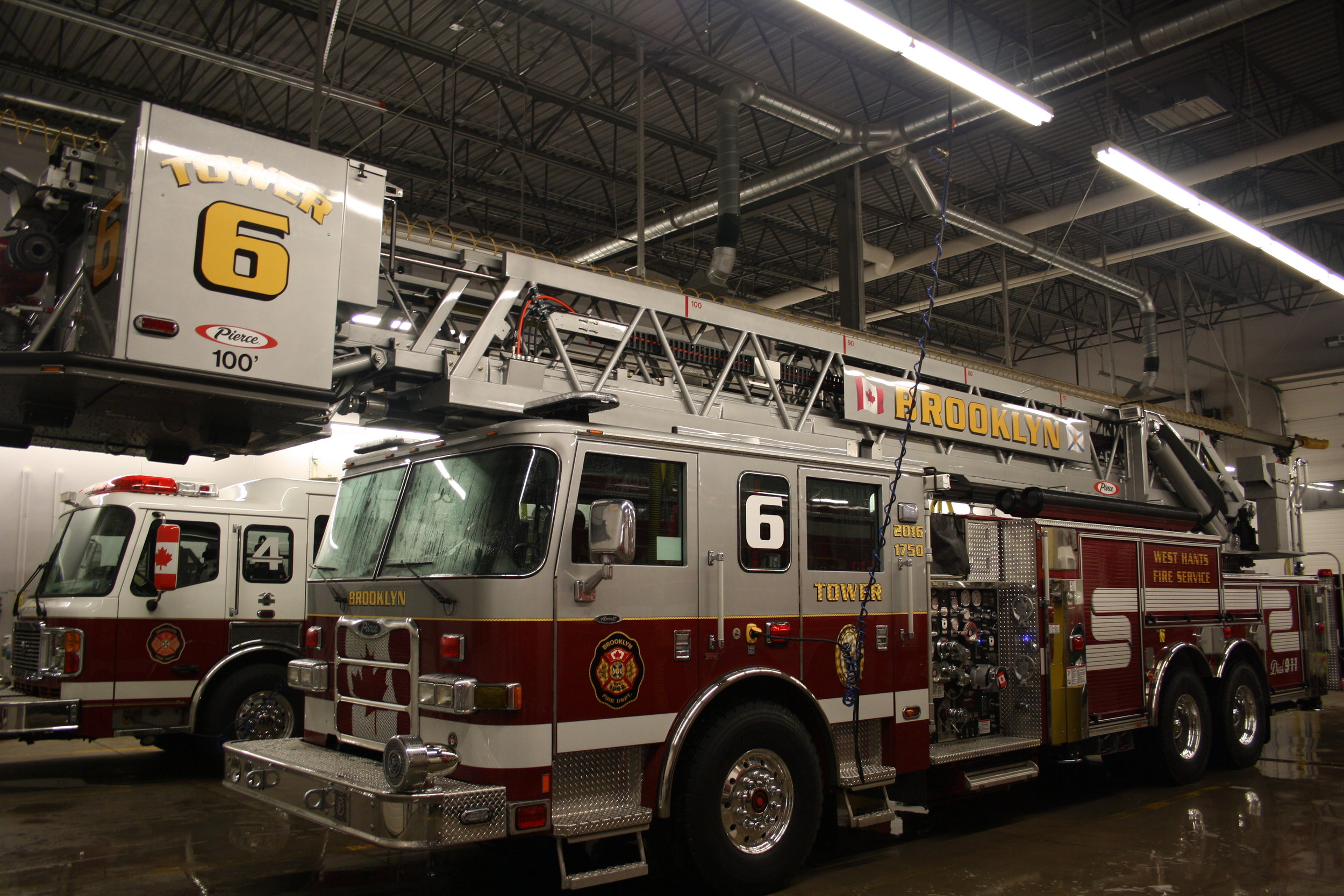 Tower Six is a 2016 Pierce 100' Aerial. It has a 1750 GPM Pump, and carries 300 gallons of water on board and also has Tak four suspension