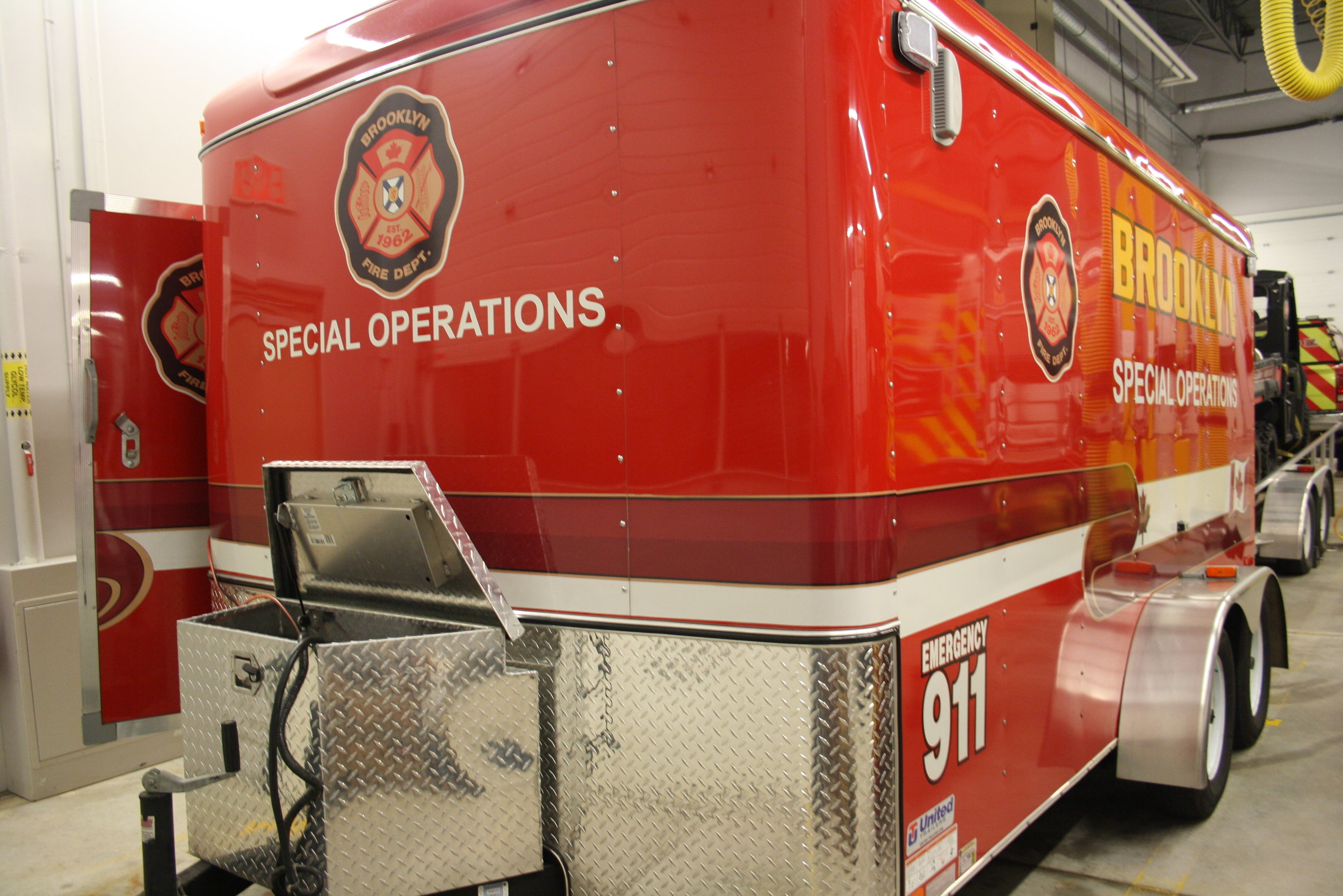 Special Operations Trailer carries Ice and Water rescue equipment.