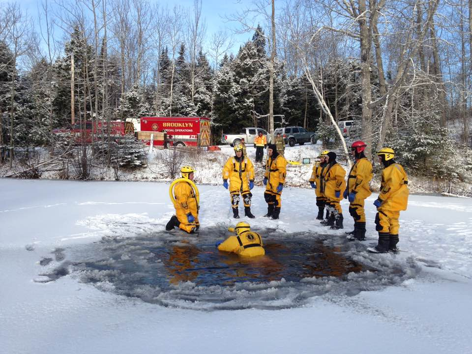 BFD members taking part in ice rescue training. Winter 2017