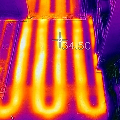 True Hydronic Radiant Heat! 34.5C is a 94.1F Floor Temperature at less than 50 Watts DC! Our proprietary system allows for full control of floor temperature minimum and maximum temperatures - so you can set it where you like it! #toastytoes #radiantheat #radiantheatedfloors #nextlevel #fourseasonvan #vanconversion #4x4sprinter #sprinter4x4 #transitvan #fordtransitcamper #promaster #promastercampervan #sprintervanconversion #sprintervanlife #vanlife #vanliferevolution #flir #infared
