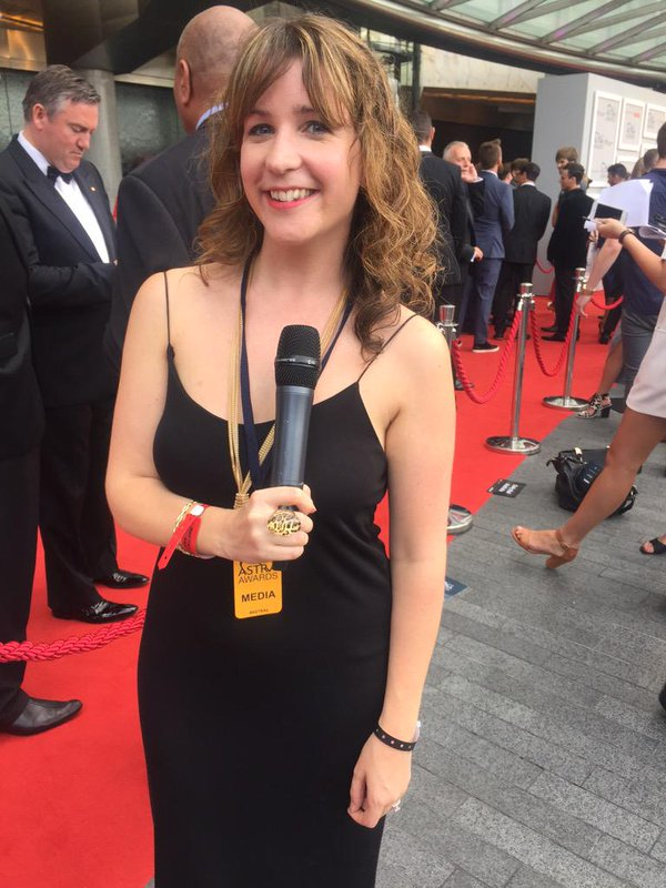 """""""Another day on the red carpet,"""" says Danielle McGrane. Image via Twitter"""