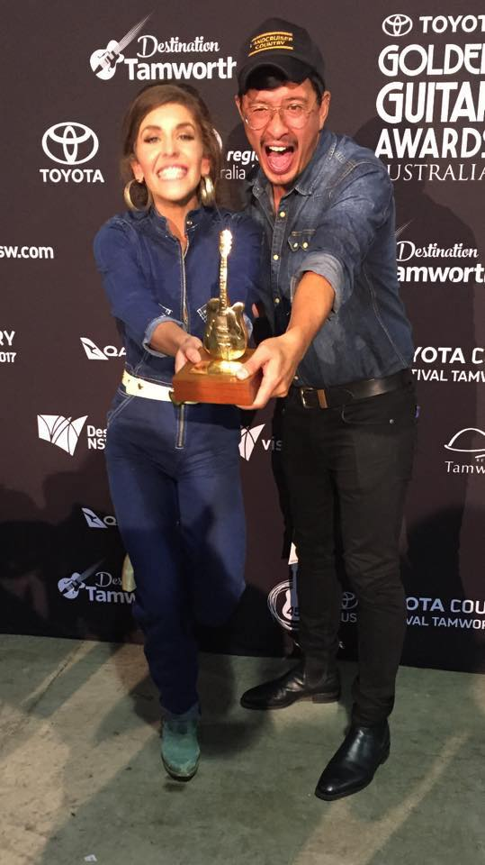 Fanny and her band mate and husband Dan winning a Golden Guitar Award