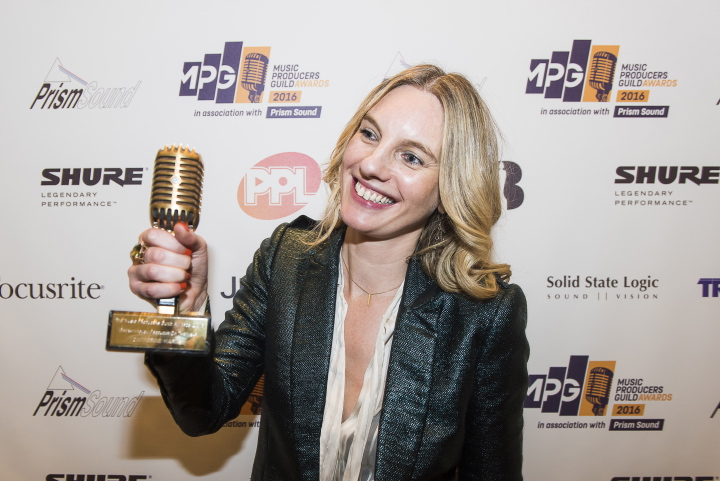 Catherine Marks wins Breakthrough Producer of the Year at the Music Producer's Guild Awards in 2016. Image via Music Producer's Guild