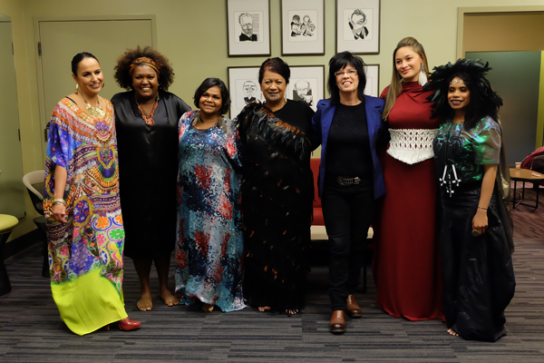 Vicki Gordon with the Barefoot Divas, image via  barefootdivas.com.au  backstage at the Zellerbach Auditorium Oakland California, 2014