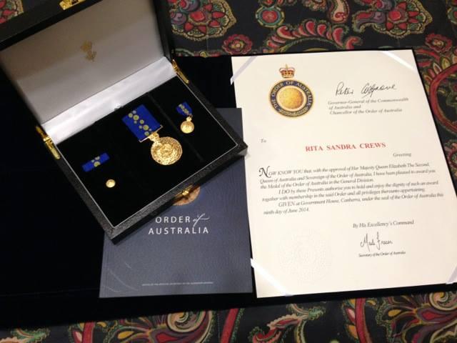 Dr Rita Crews' Order of Australia medal. Image via  Facebook