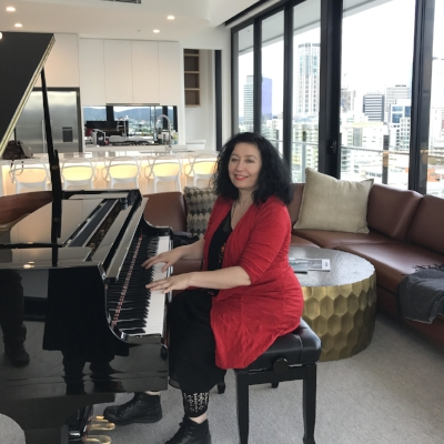 Elena Kats-Chernin at the Johnson, Brisbane where she has spent this week composing works inspired by Margaret Olley and William Robinson's art