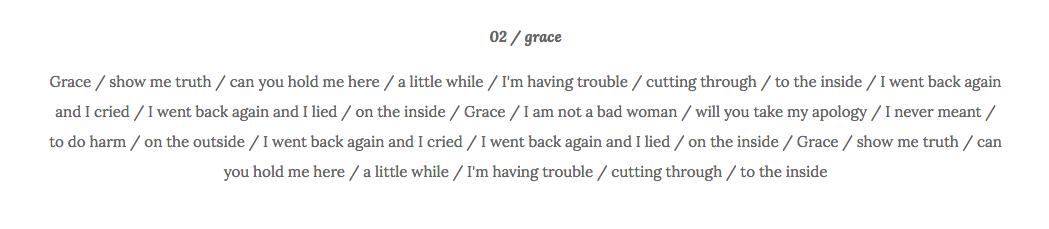 Grace lyrics Taryn La Fauci