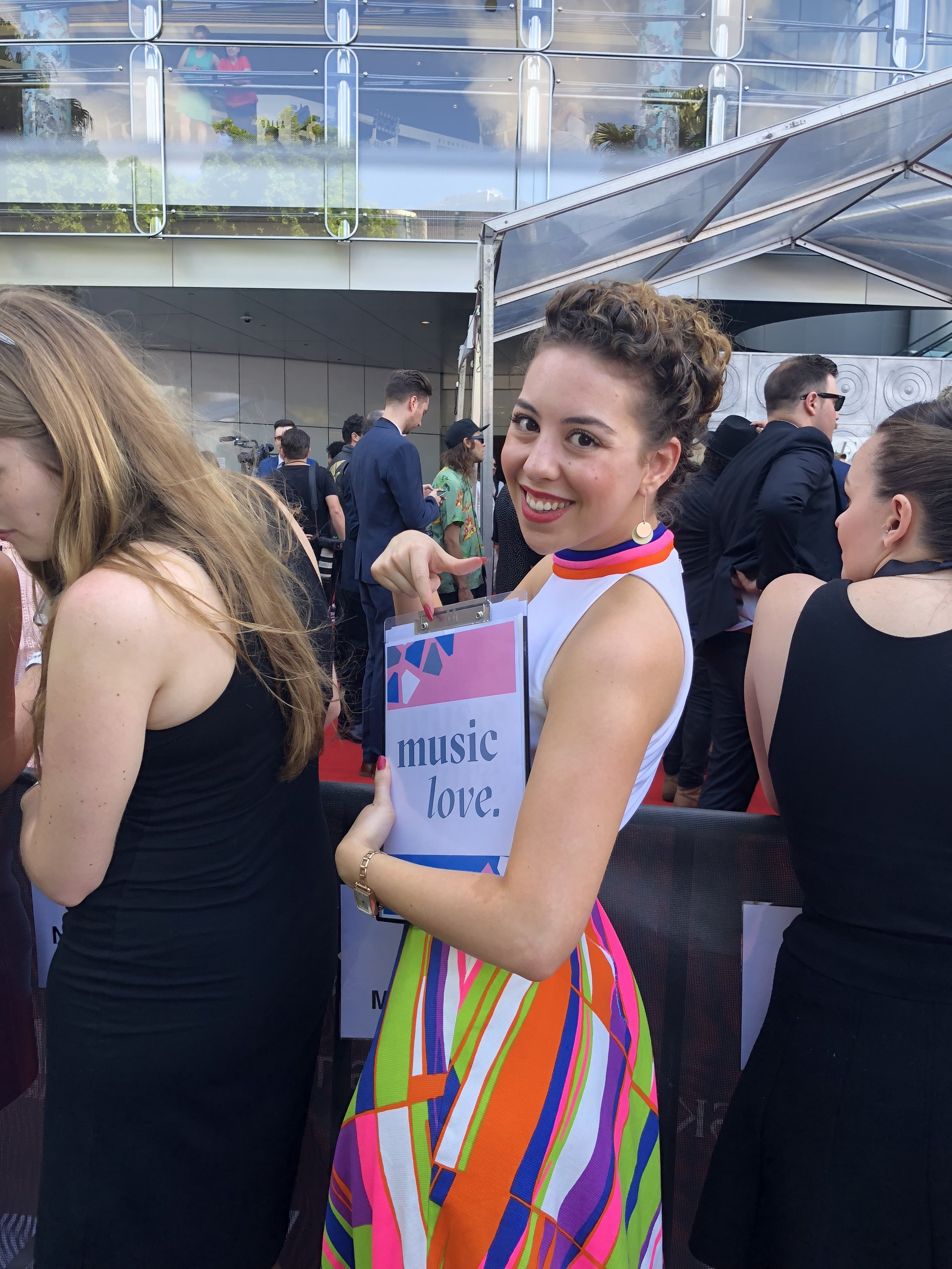 Music Love writer Fenella Henderson-Zuel on the 2017 ARIA Awards red carpet on Tuesday