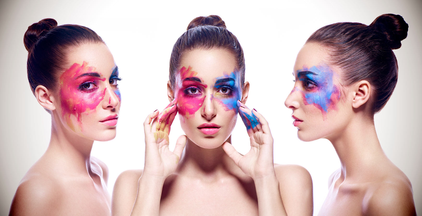Mark DeLong - Celebrity Photographer - Three views of an actress with pink and blue paint on her face.