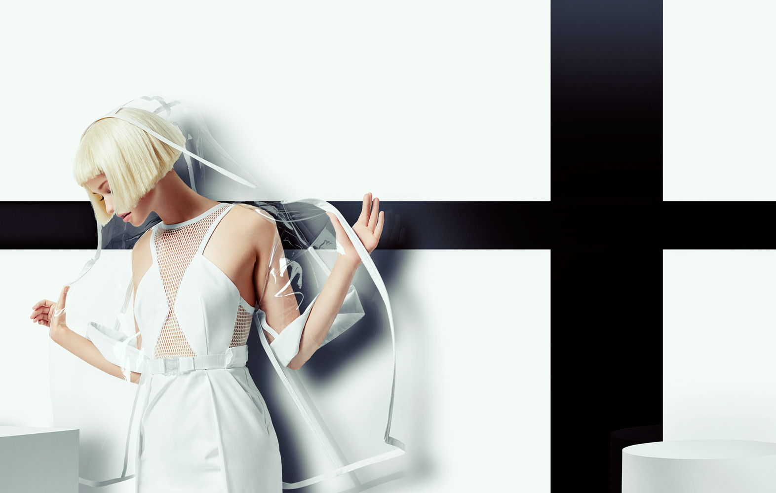 Woman with short blond hair wearing white dress and clear transparent hooded coat - Mark DeLong: Fashion Gallery
