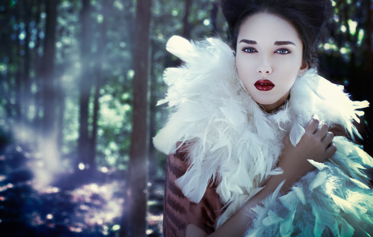 Asian model in mystical forest wearing white feathery scarf - Mark DeLong: Fashion Gallery
