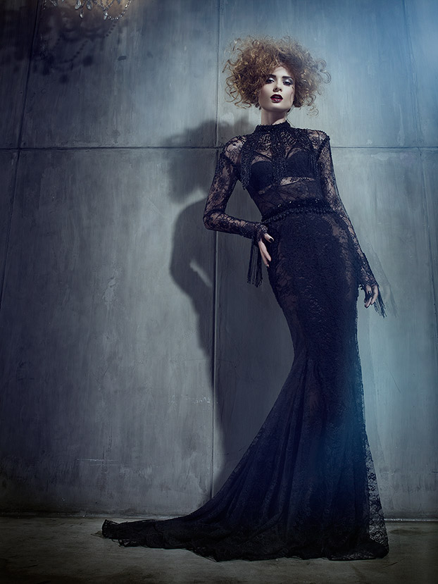 Woman with curly hair wearing long sleeve long black lace dress - Mark DeLong: Fashion Gallery