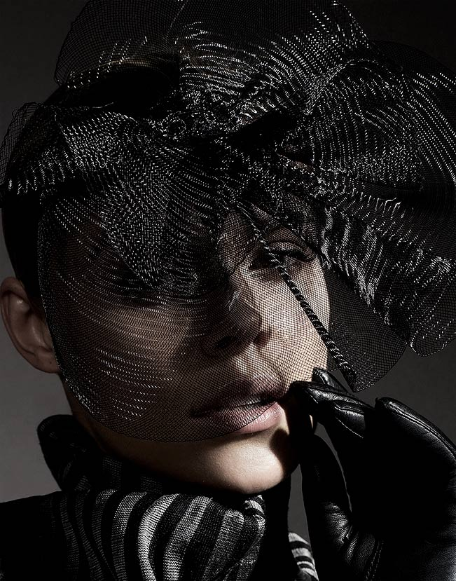 Face portrait of woman with black mesh veil - Mark DeLong: Fashion Gallery