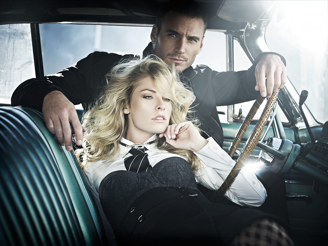 Mark DeLong - Lifestyle Photography - A man and women sitting in a retro car