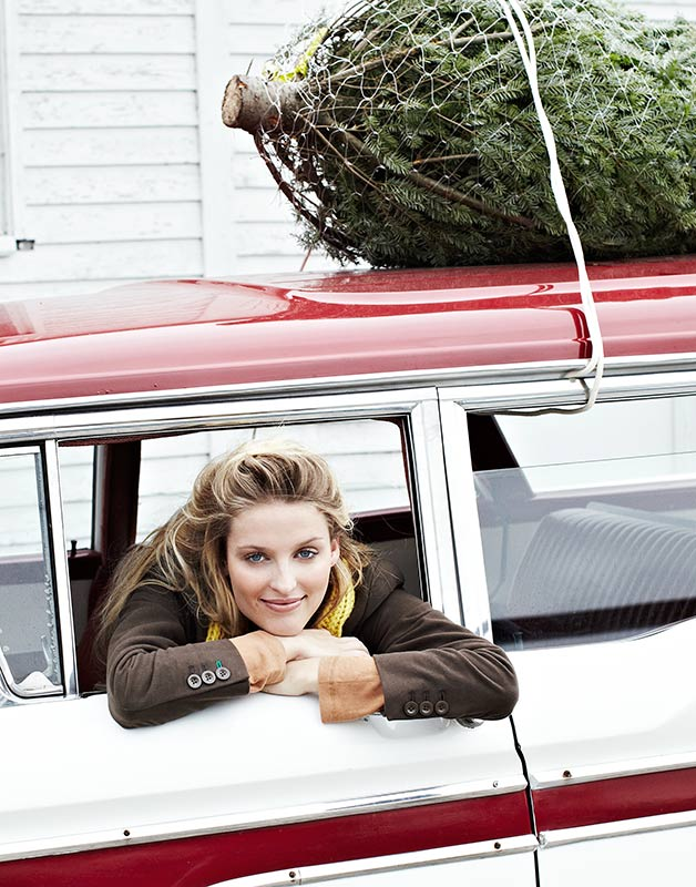 Mark DeLong - Lifestyle Photography - A woman hanging out of a retro car window with a christmas tree tied to the top
