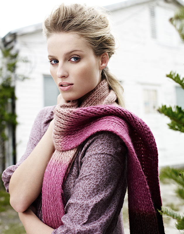 Mark DeLong - Lifestyle Photography - A blonde model in a pink scarf