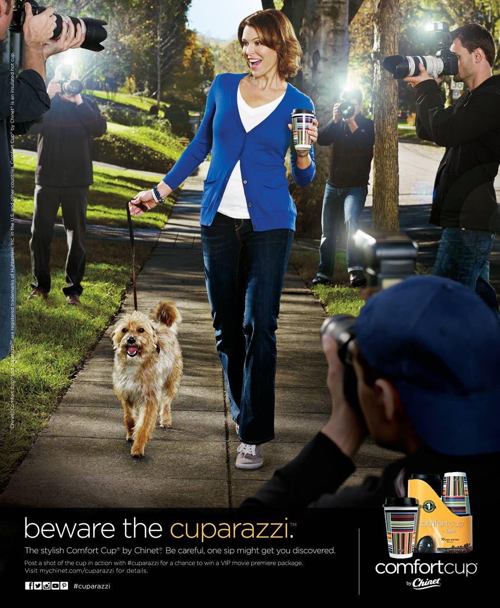 Mark DeLong - Commercial Photography - Woman walks dog as paparazzi take pictures.