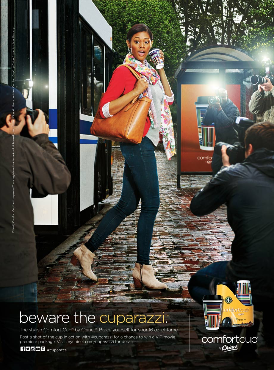 Mark DeLong - Commercial Photography - Woman gets off bus and paparazzi take pictures of her.