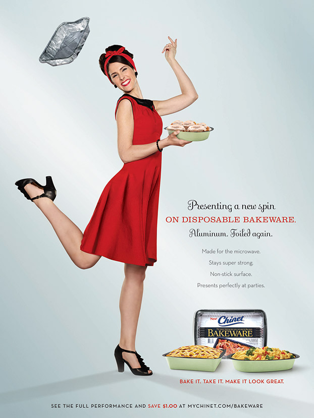Mark DeLong - Commercial Photography - Woman throws pan and kicks her heel in a red dress.