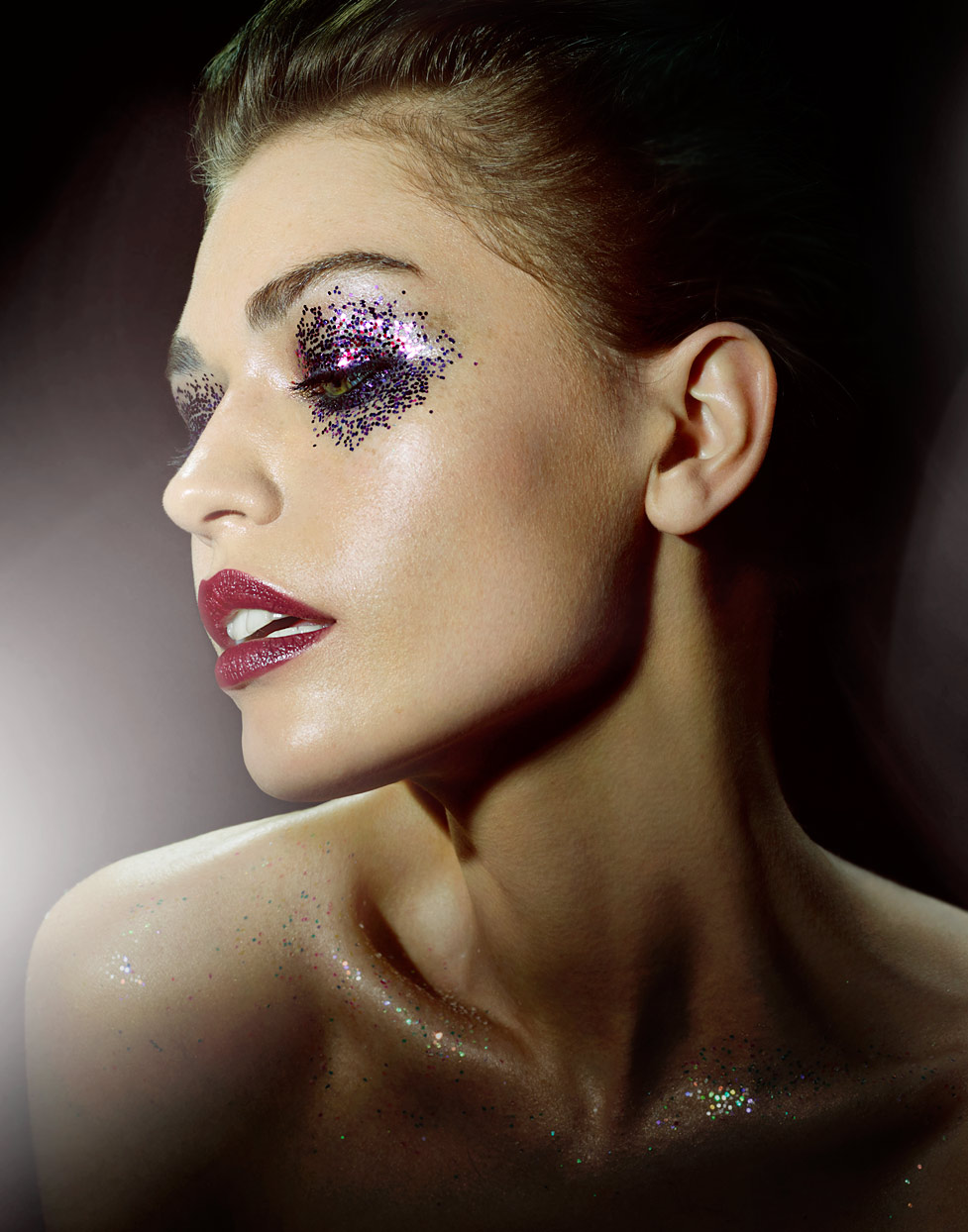 Mark DeLong - Beauty Photographer - Brunette woman with red lipstick and glitter eye shadow