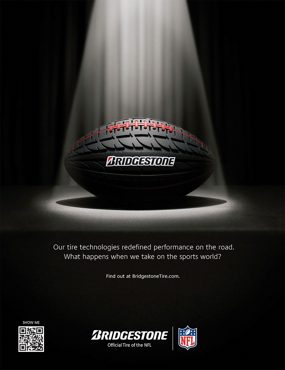 Mark DeLong - Commercial Photography - Rugby ball that is made from tire tread sits in the spotlight.