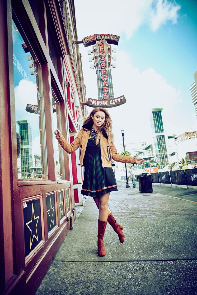 Mark DeLong - Celebrity Photographer - Actress walking down an empty street.