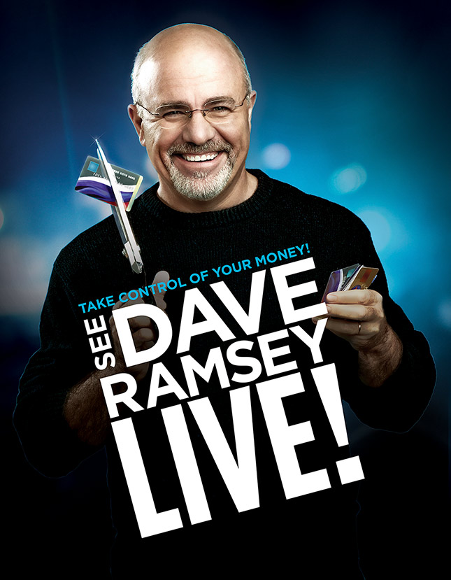 Mark DeLong - Celebrity Photographer - Dave Ramsey cutting up credit cards on poster.