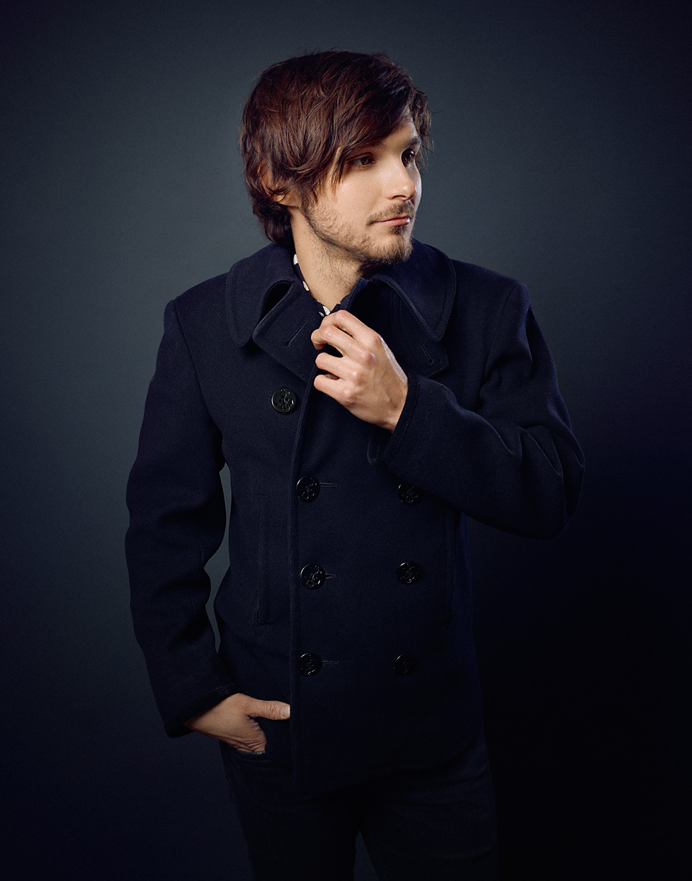 Mark DeLong - Celebrity Photographer - Actor in a blue pea coat.