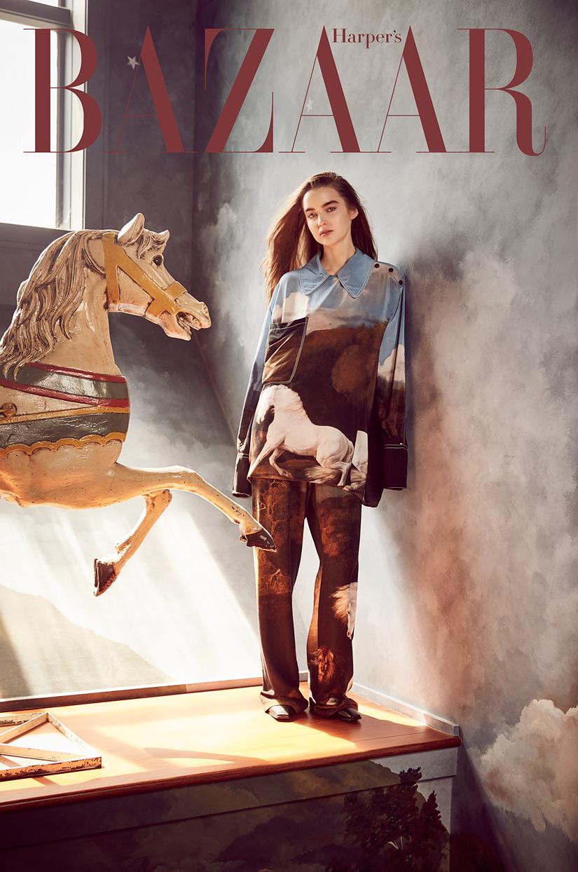 Harper's Bazaar - Girl Modeling With Elegant Horse Statue: Fashion Gallery - Mark DeLong