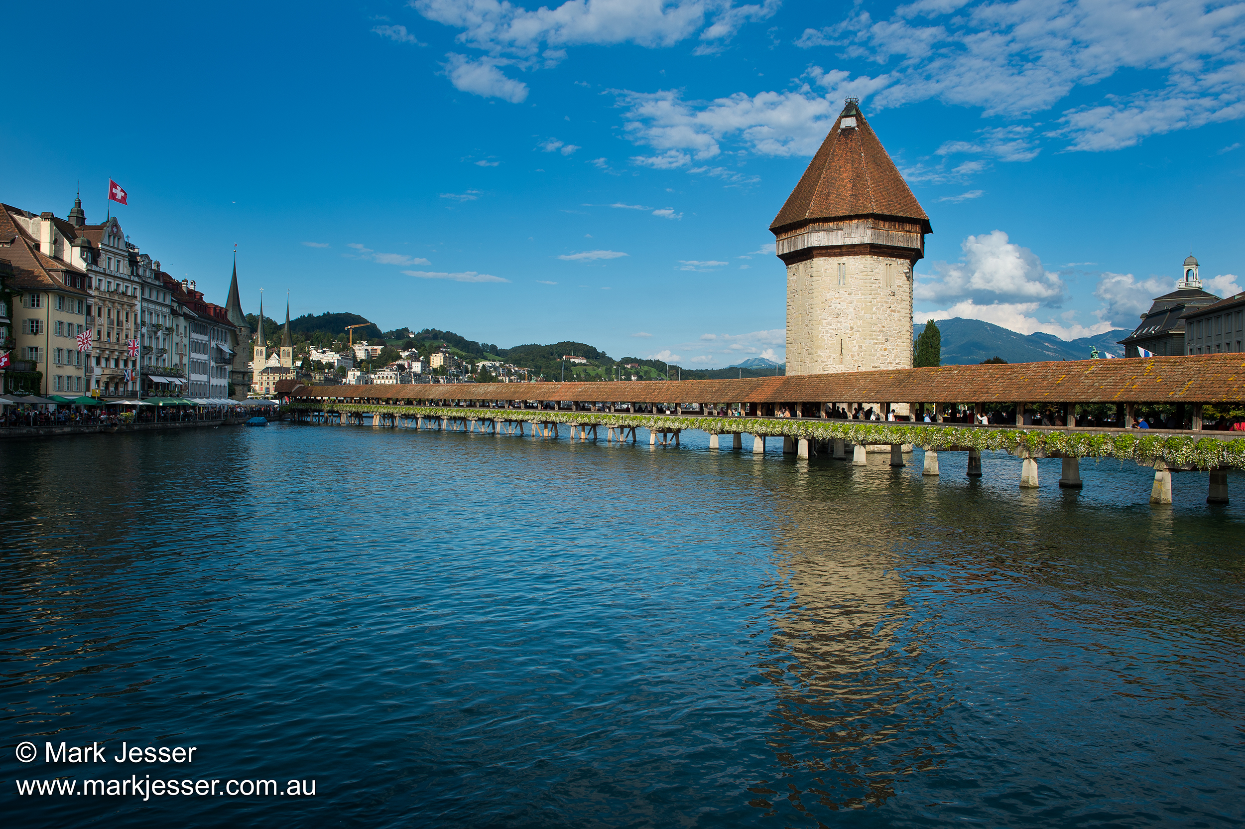 (Photo Mark Jesser) Lucerne, Switzerland. Kapellbrücke, Bridge.
