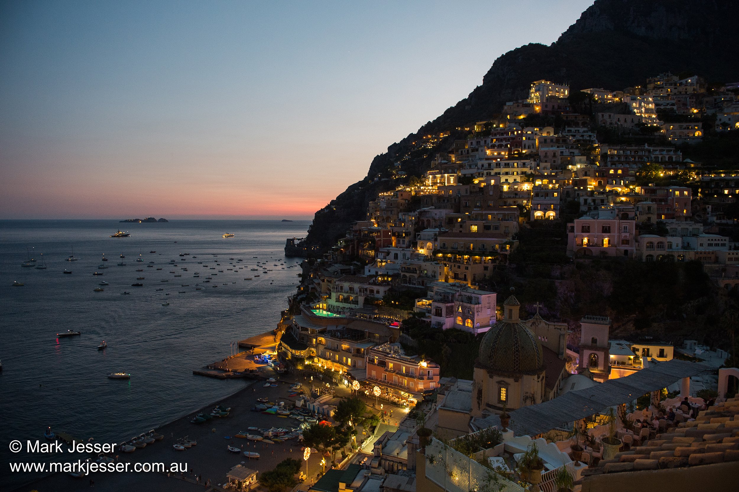 (Photo Mark Jesser) Positano, Italy. - Dusk.