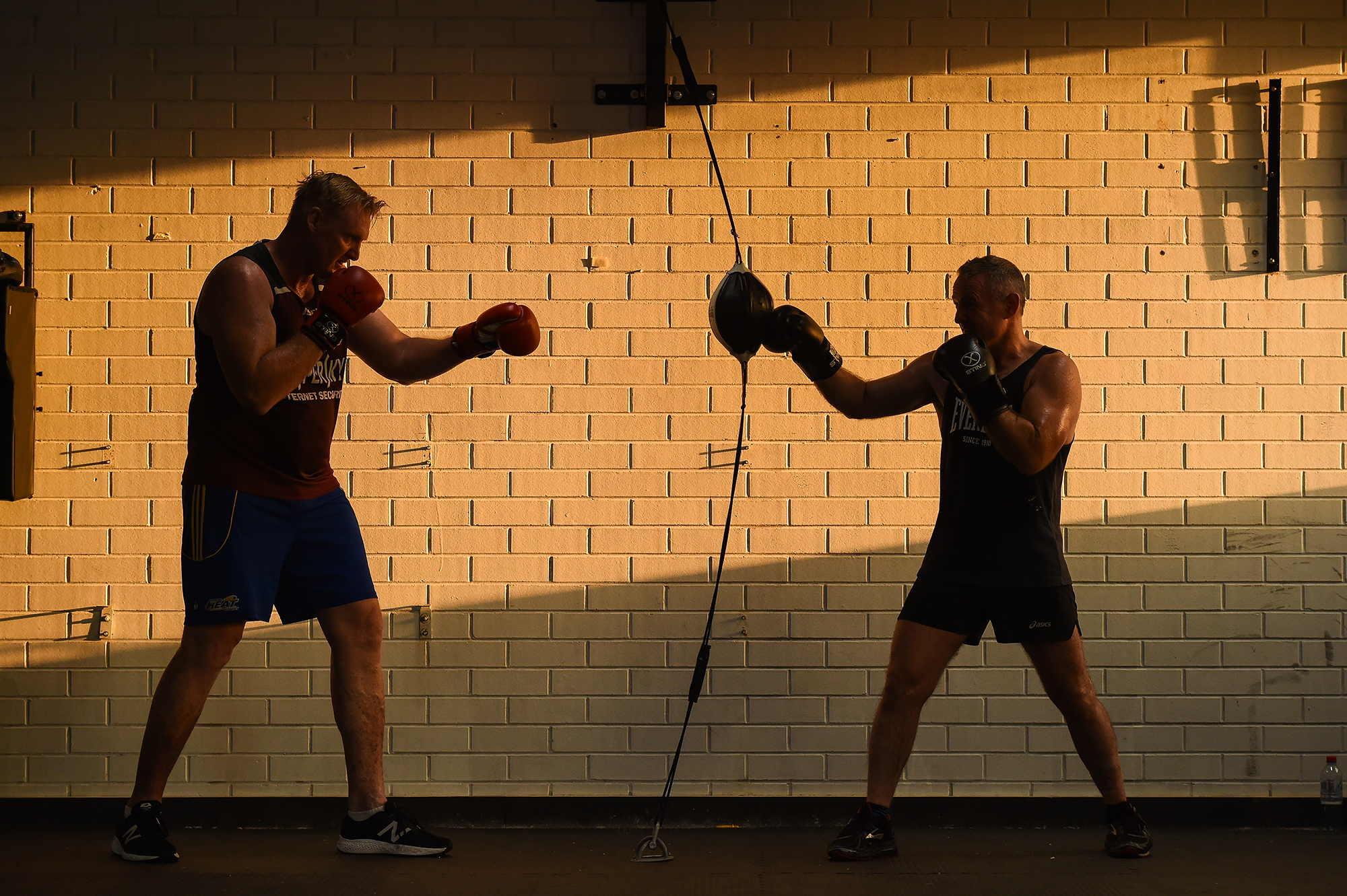 (Photo Mark Jesser) Albury.Michael Buchanan and Kenny Howe at Adrenaline training. Mick is training for a charity bout at Wodonga in March. PICTURED: Kenny Howe and Michael Buchanan