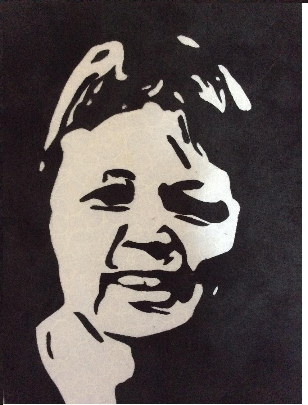 Self portrait: raw edge applique, black on white