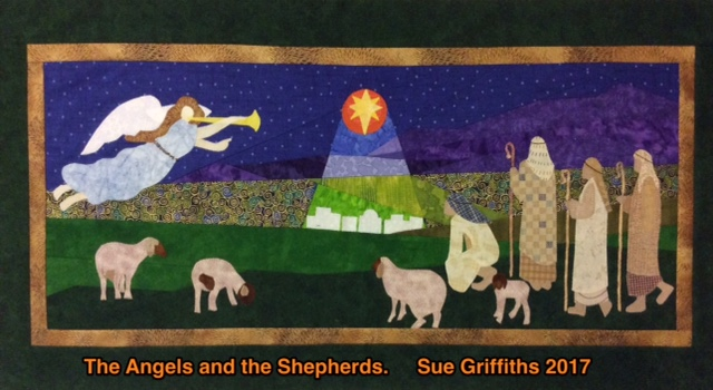 The angels and the shepherds is 30 inches by 12 inches. Pattern is available on Craftsy at Duck Creek Mountain Quilting. The background is foundation pieced and the figures are raw edge appliqued.