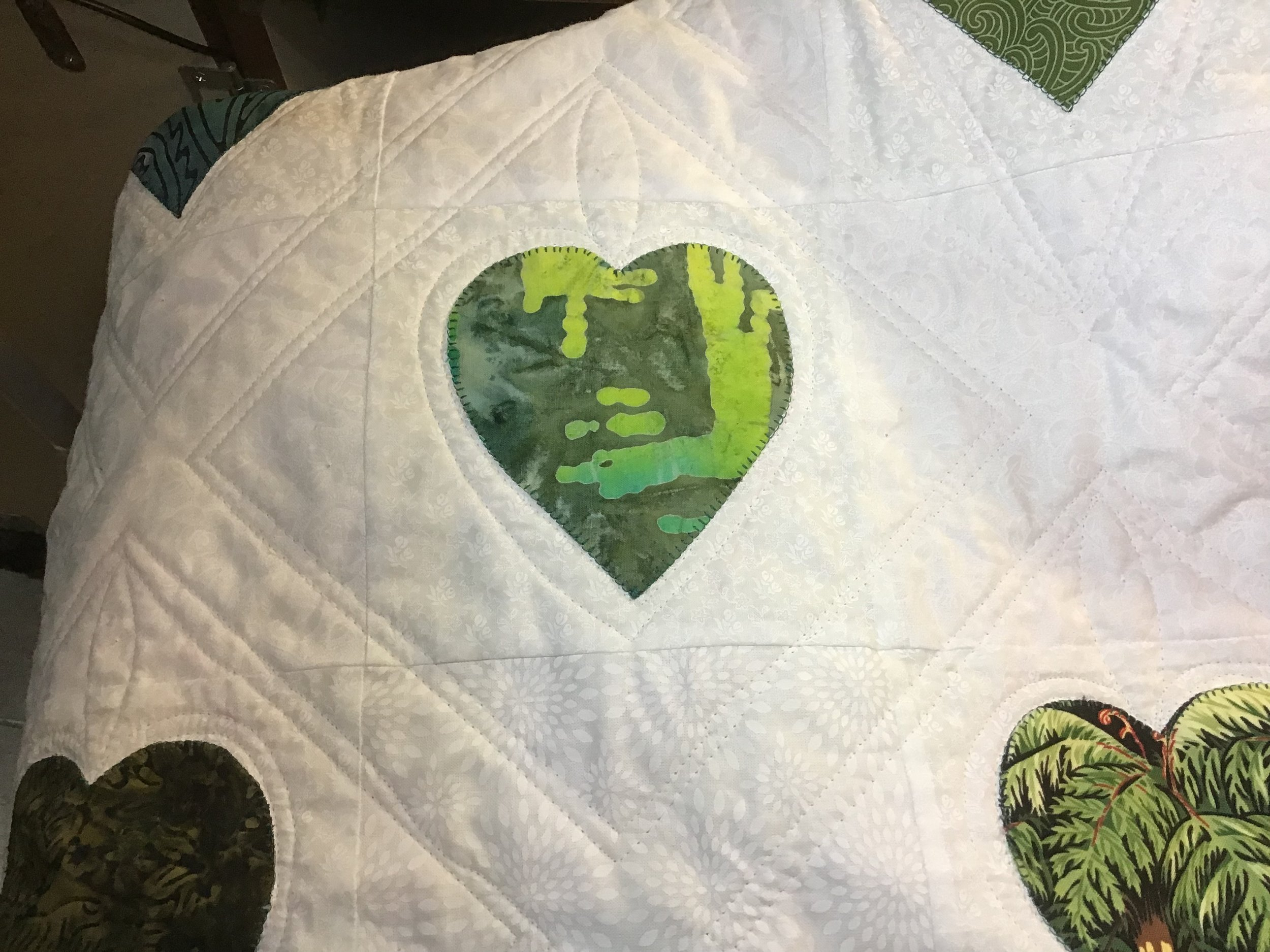 green appliquéd heart for 'healing hearts for Christchurch'