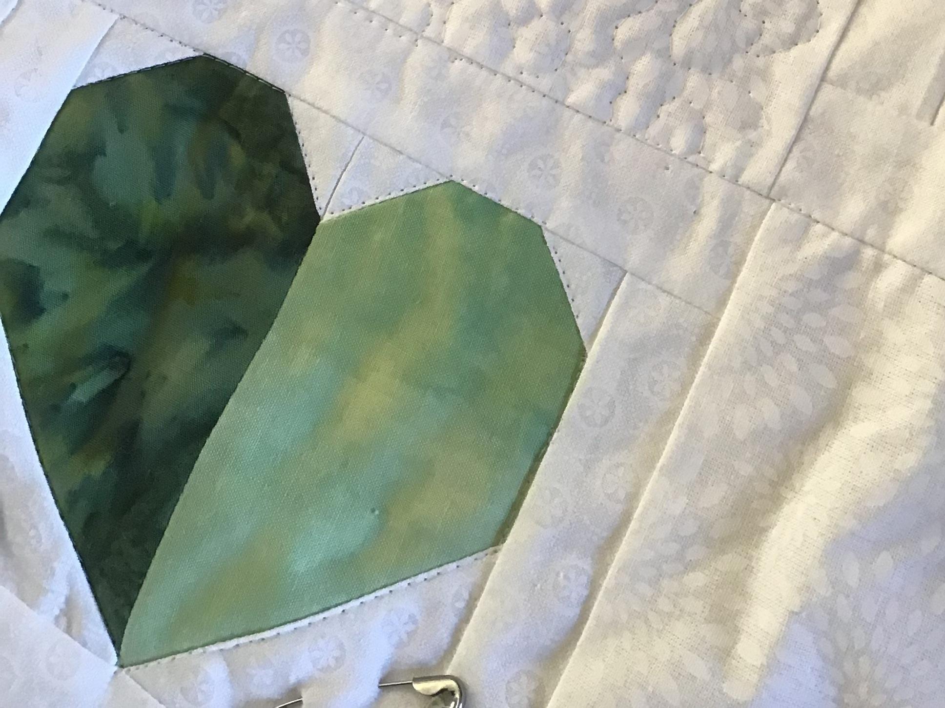 green pieced heart for 'healing hearts for Christchurch'