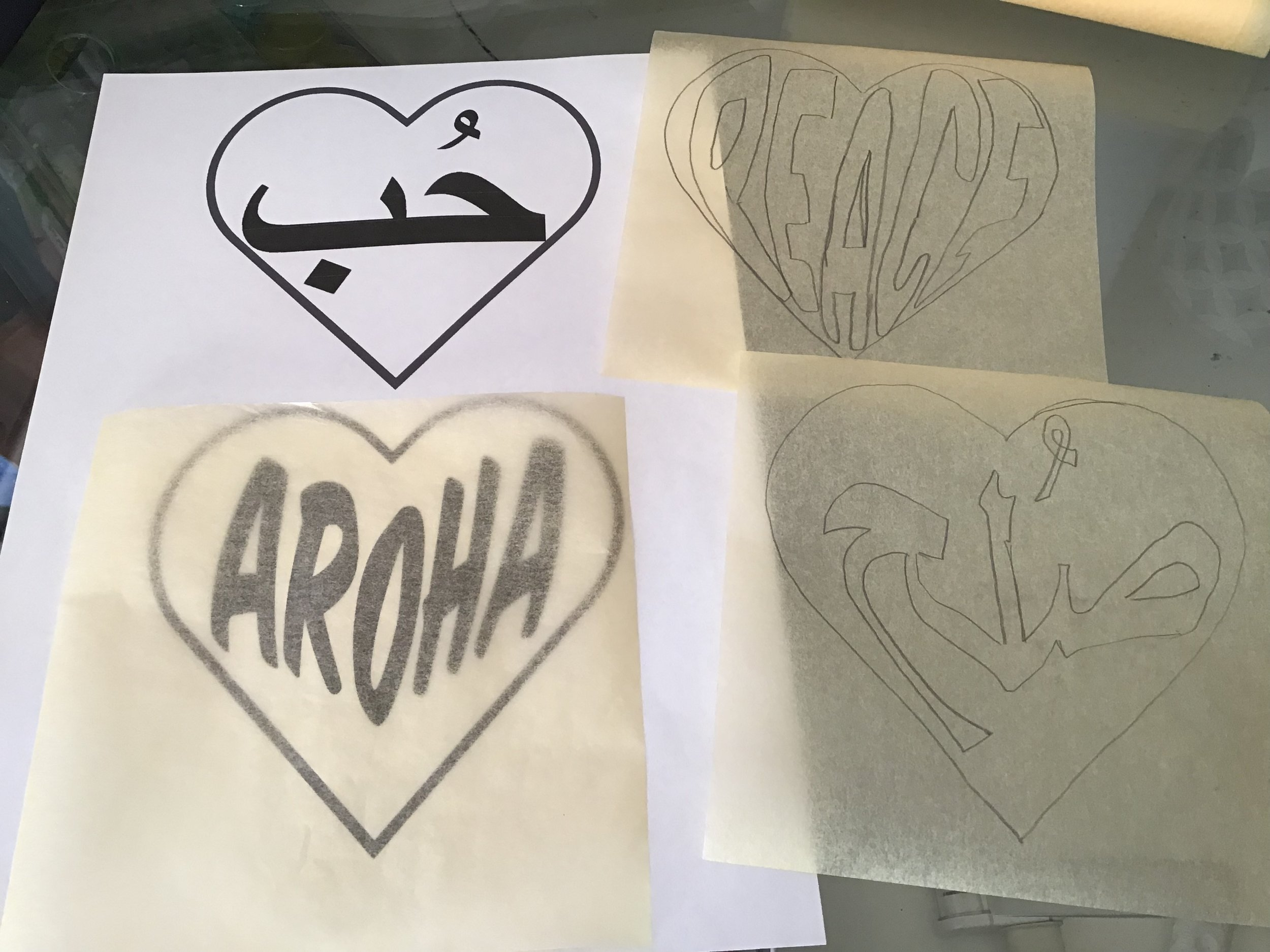 warped text being transferred to paper for quilting: Aroha = love