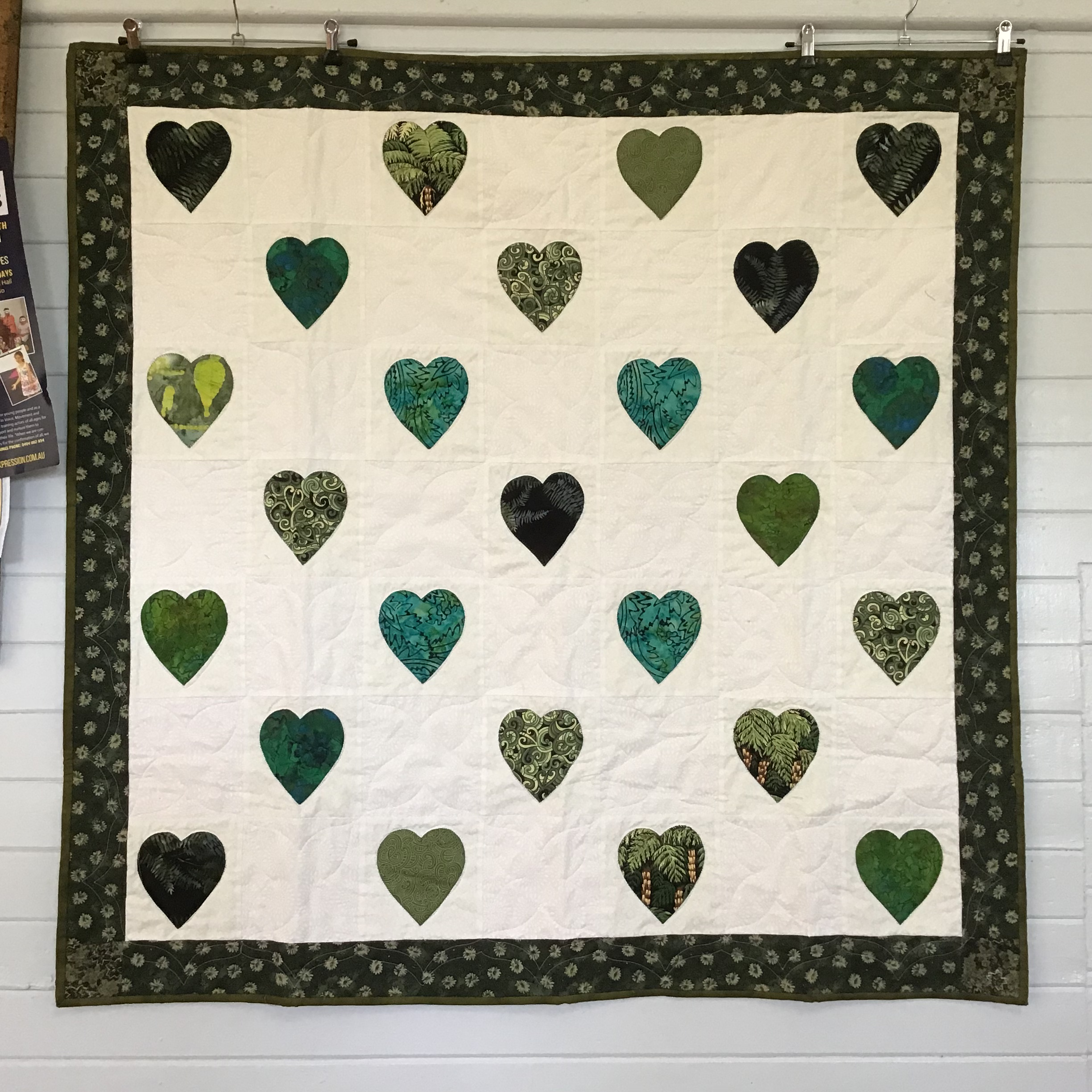 healing hearts quilts with blocks from Zarina and Liyana in beautiful New Zealand fabrics