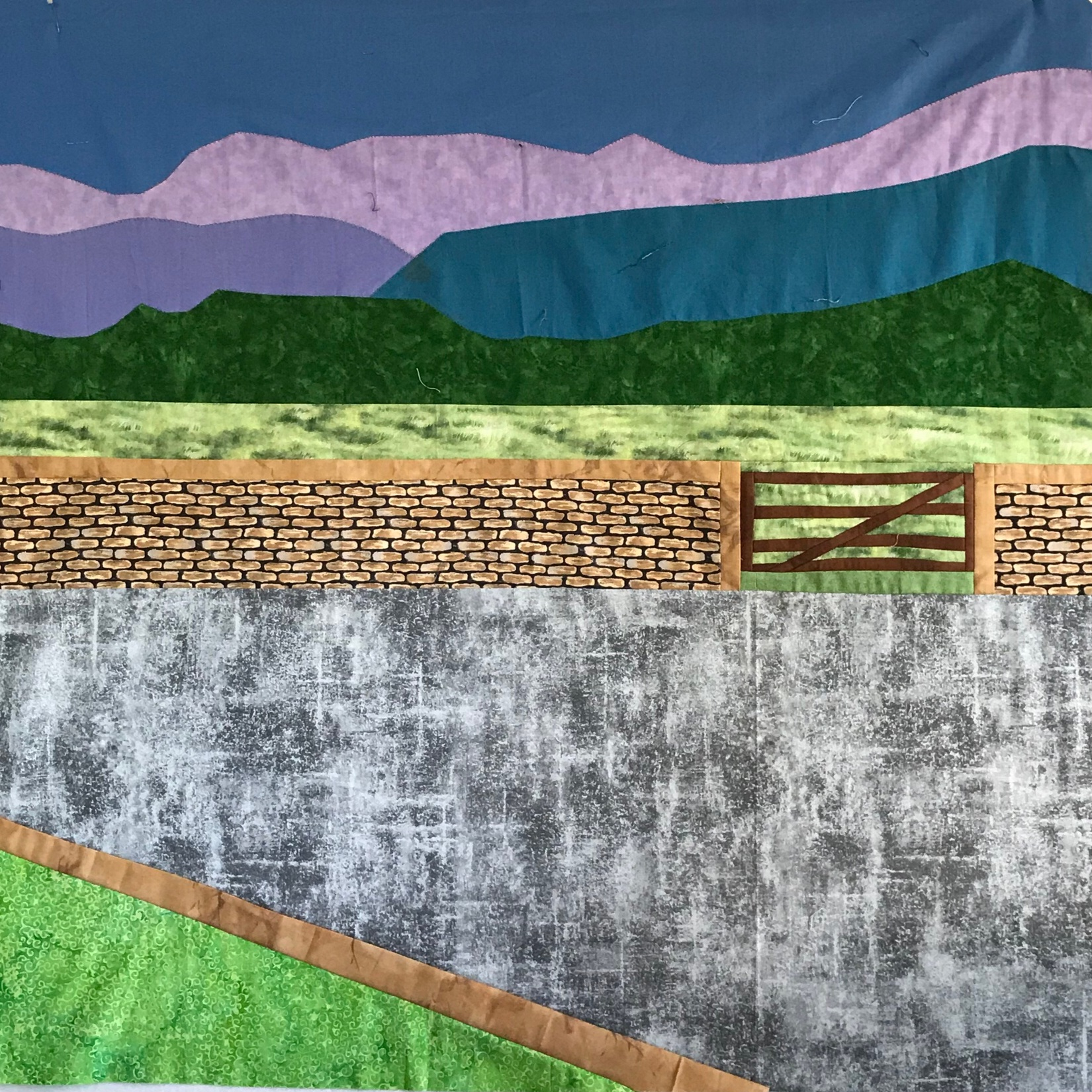 background with mountains, wall and gate