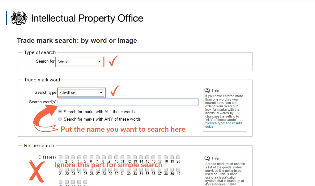 The IPO trade mark search is simple.