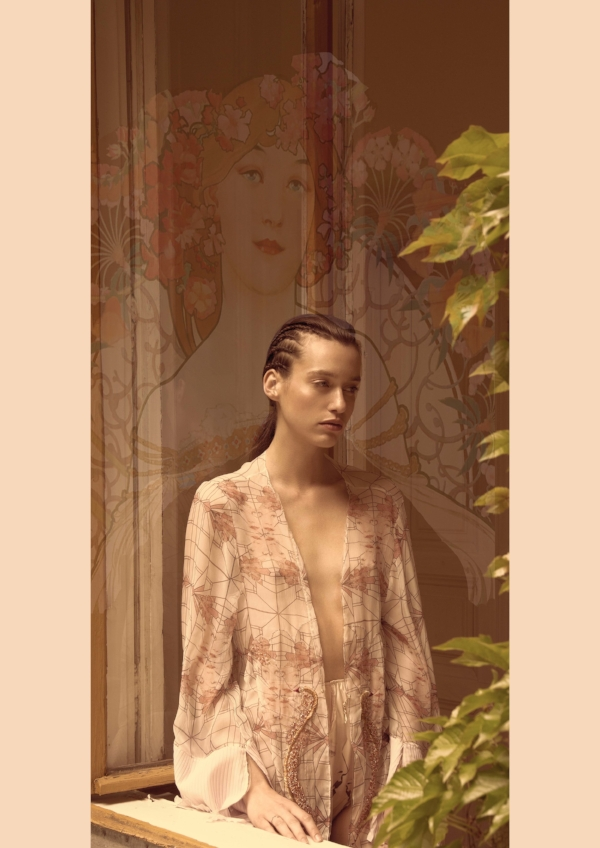 Silk print,  hand embroidered kimono with high waisted brief - 'What if i Fly' by Carmen Matefi