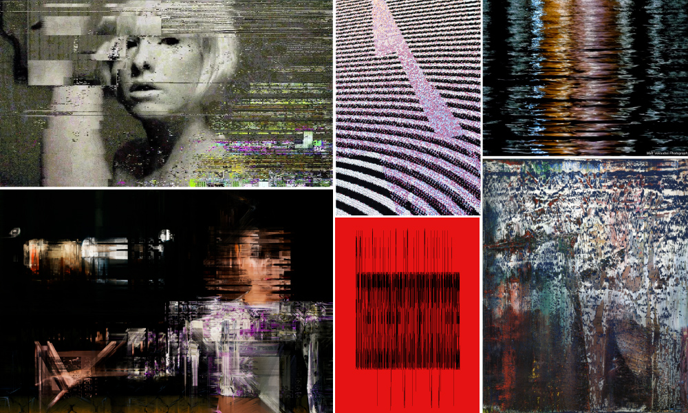Glitch Art Inspires Textiles in this Moodboard by Tactile Trends  Artists left to right: Glitch Artist  Rosa Menkman  | Multimedia Artist Philip Stearn of  Glitch Textiles  | Photographer  Matt Veloudos  | Glitch Artist  Sabato Visconti  | Artist  Gerard Richter