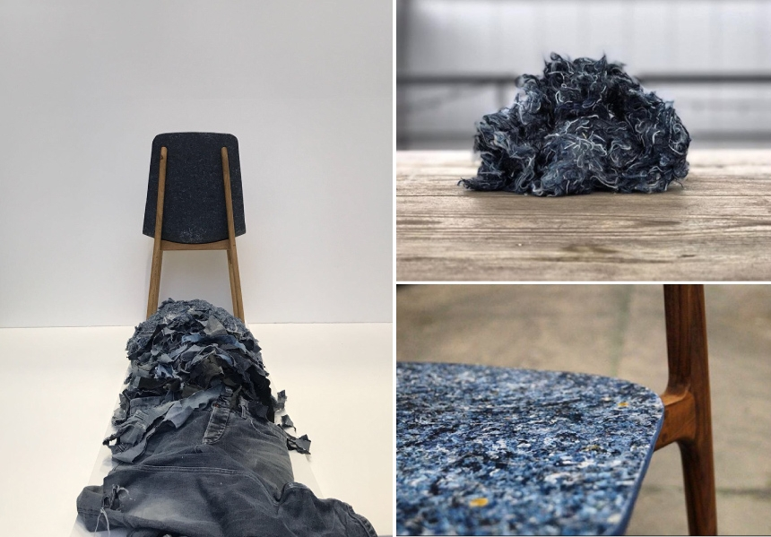 Rezign Furniture Line by PLANQ - The 'Unusual Chair'is made from old jeans