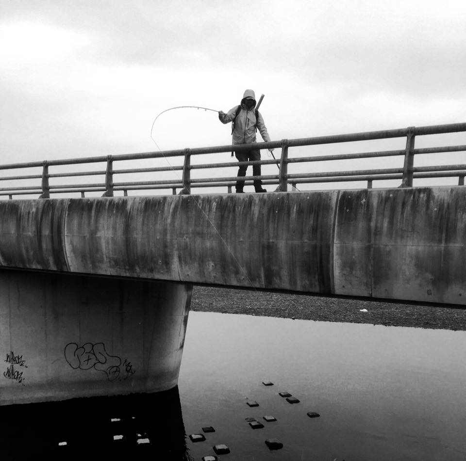Martyn White attempts to hoist a double digit Tokyo mud hog from structure.