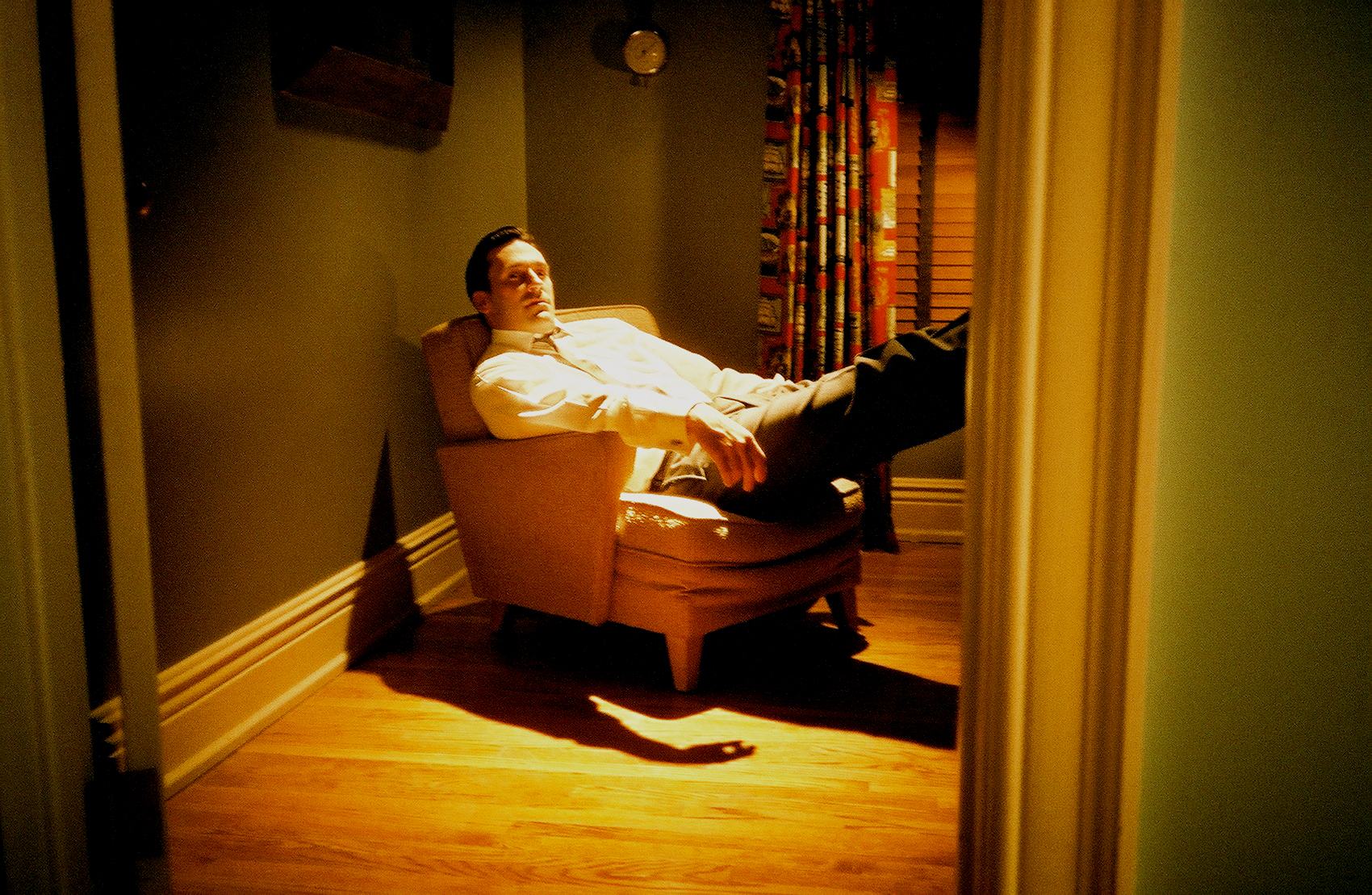 John Hamm relaxing off set on Mad Men