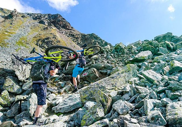 Sometimes you've got to work hard for the reward! This is part of our Haute Route from Verbier to Zermatt #alps #bikevalais #bikeswitzerland #rocknroll