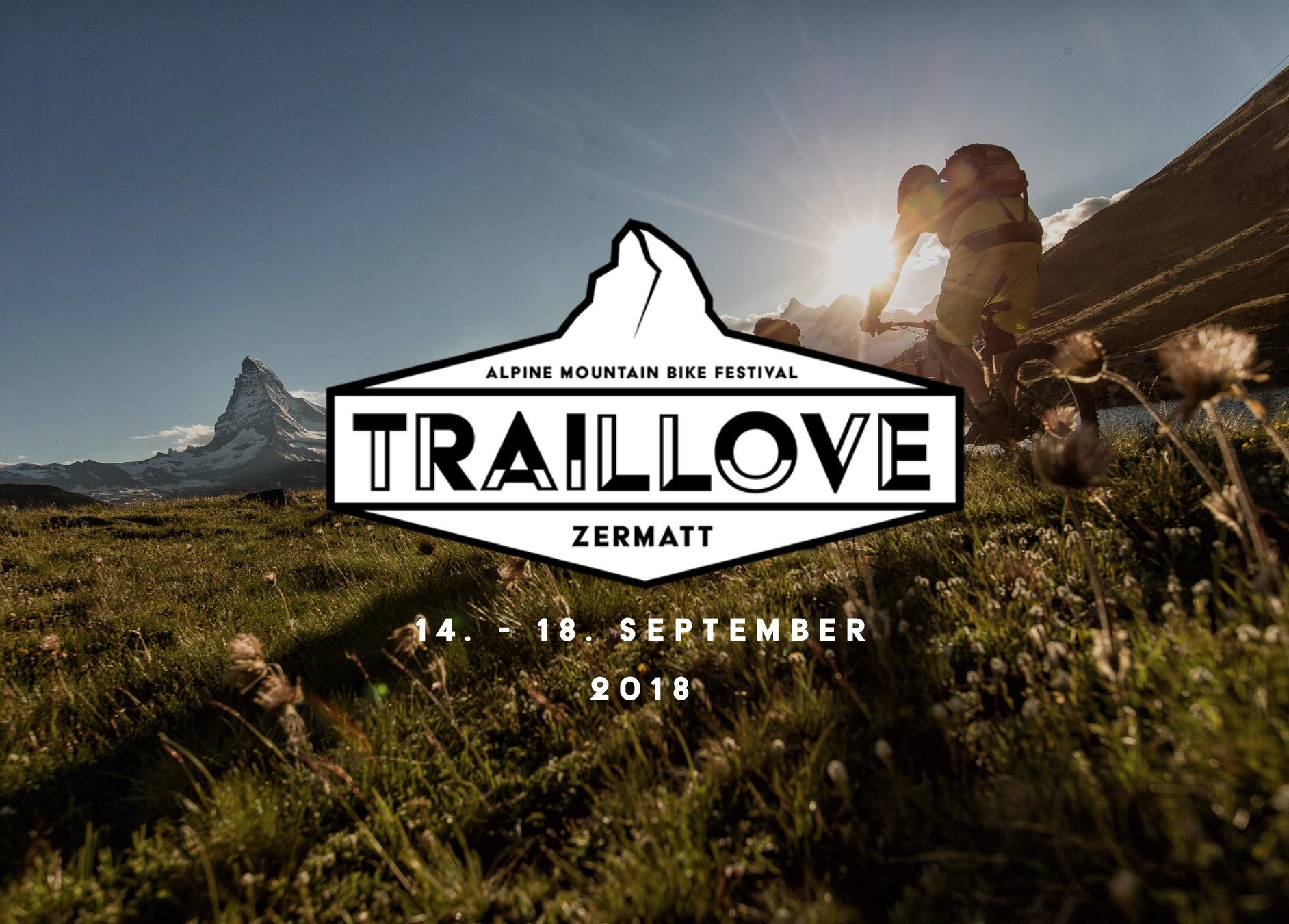 Traillove Festival Zermatt:14. - 18. Sept. '18 - Wir freuen uns, euch das 1. Traillove Festival der Alpen anzukünden und sind stolz, Partner und Unterstützer dieses einzigartigen Anlasses zu sein!Es richtet sich an alle Mountainbike Enthusiasten, Profi-Athleten, die Bike-Industrie und alle anderen die gerne auf zwei Rädern die schönen Trails der Alpen entdecken wollen. Schaut auch das vielseitige Programm an und seid dabei - es wird garantiert funky! ☀️🚵🏼🤘🏼🍻Alle Infos zu Events (Enduro Continental Cup/Helveti'cup, Swiss Epic) & Aktivitäten wie gratis geführten Touren, E-MTB Taste Tour, Lady's Trail Specials, Partys etc. unter:> www.traillove.bike <
